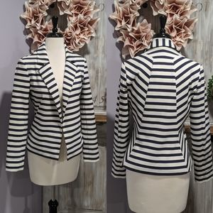 Chico's navy/white striped blazer